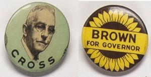 Gubernatorial campaign buttons, circa 1936